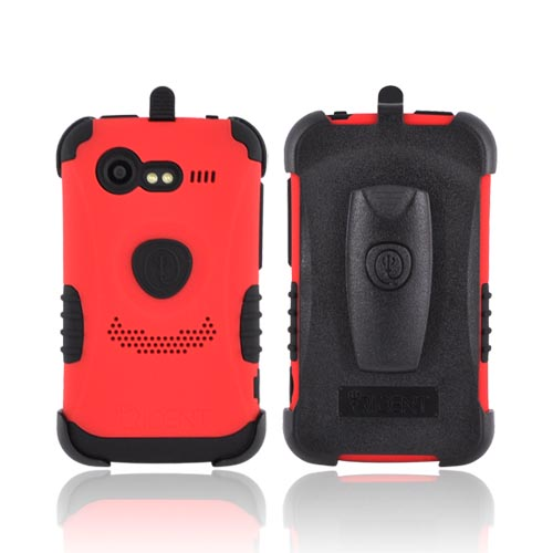 Original Trident Kraken HTC Droid Incredible 2 Rubberized Hard on Silicone w/ Built-in Screen Protector & Holster, KKN2-INC-S-RD - Red/ Black