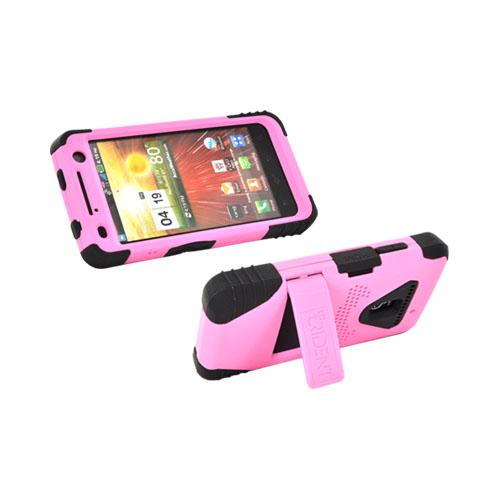 Original Trident Kraken LG Revolution, LG Esteem Anti-Skid Hard Cover on Silicone Case w/ Screen Protector, Kickstand, & Holster, KKN2-LG-REV-PK - Pink/ Black