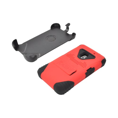 Original Trident Kraken LG Revolution, LG Esteem Anti-Skid Hard Cover on Silicone Case w/ Screen Protector, Kickstand, & Holster, KKN2-LG-REV-RD - Red/ black