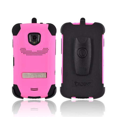 Original Trident Kraken Samsung Droid Charge Rubberized Hard on Silicone Case w/ Built-in Screen Protector & Holster, KKN2-SCHG-PK - Pink/ Black