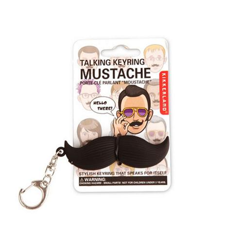 Black Talking Mustache Keychain