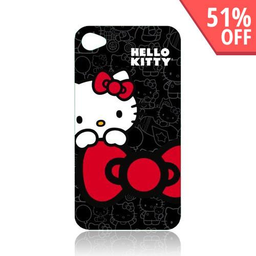 Original Hello Kitty AT&T Apple iPhone 4 Hard Back Cover Case, KT4488B4 - Hello Kitty on Black