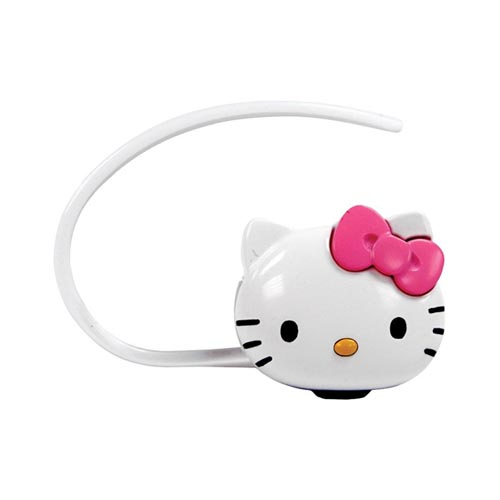 Officially Licensed Hello Kitty Bluetooth Headset w/ Case, Soft Ear Gels, Car Charger, & Wall Charger, KT4700 - White/ Pink