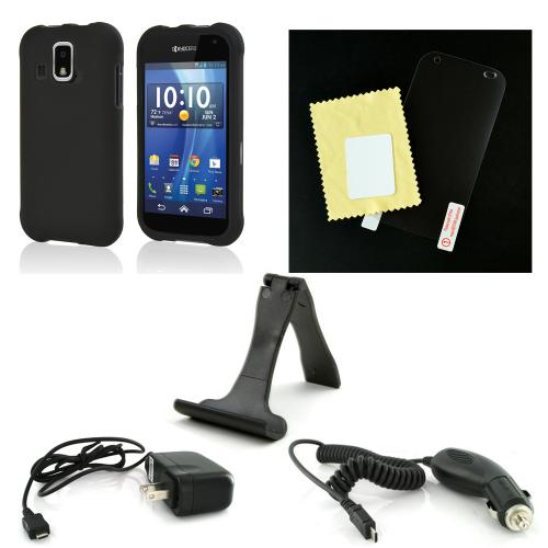 Essential Starter Bundle Package w/ Black Rubberized Hard Case, Screen Protector, Portable Stand, Car & Travel Charger for Kyocera Hydro XTRM
