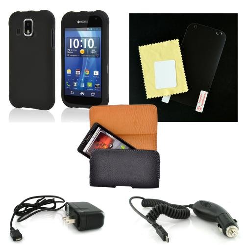 Essential Starter Bundle Package w/ Black Rubberized Hard Case, Screen Protector, Leather Pouch, Car & Travel Charger for Kyocera Hydro XTRM