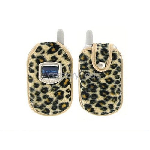 Leopard Fur Flip Phone Cell Phone Case - Tan w/ Black (FS)