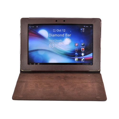 Premium Asus Transformer TF101 Leather Stand Case w/ Magnetic Closure - Brown