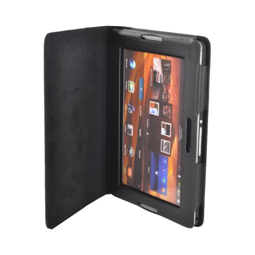 Premium Blackberry Playbook Leather Stand Case w/ Magnetic Closure - Black