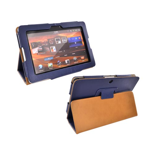 Premium Blackberry Playbook Leather Stand Case w/ Magnetic Closure - Dark Blue/ Brown