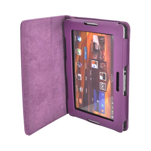 Premium Blackberry Playbook Leather Stand Case w/ Magnetic Closure - Purple