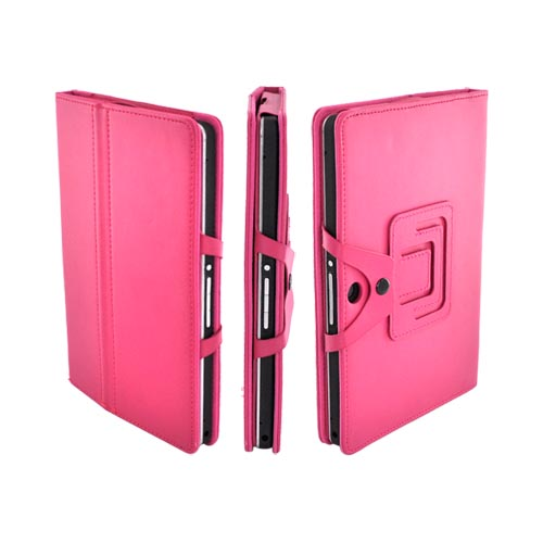 Premium Blackberry Playbook Leather Stand Case w/ Magnetic Closure - Magenta