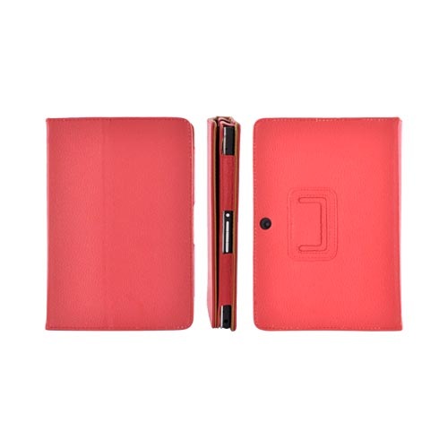 Premium Blackberry Playbook Leather Stand Case w/ Magnetic Closure - Red/ Brown