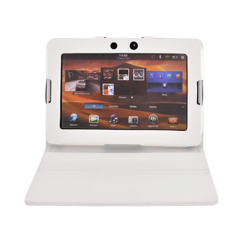 Premium Blackberry Playbook Leather Stand Case w/ Magnetic Closure - White