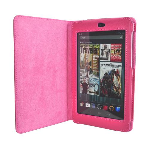 Google Nexus 7 Leather Stand Case w/ Magnetic Closure - Rose Pink