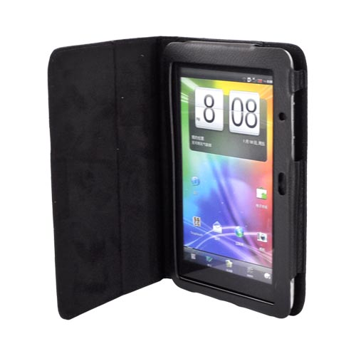 HTC EVO View 4G/ HTC Flyer Leather Stand Case w/ Magnetic Closure - Black