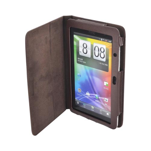 HTC EVO View 4G/ HTC Flyer Leather Stand Case w/ Magnetic Closure - Brown