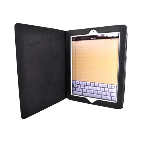 Premium Black Apple iPad 2/3/4 Faux Leather Case Stand w/ Magnetic Closure