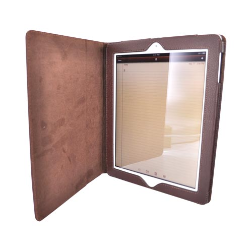 Premium Apple iPad 2nd Gen. Leather Case Stand w/ Magnetic Closure - Brown
