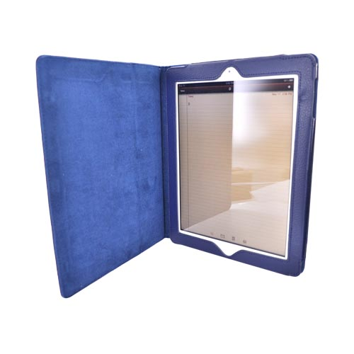 Premium Apple iPad 2/ New iPad Leather Case Stand w/ Magnetic Closure - Blue