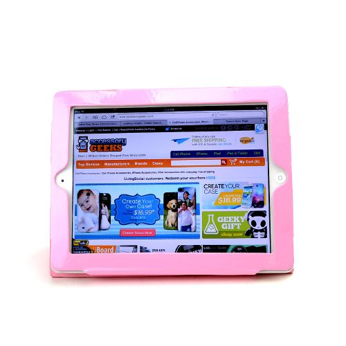 Premium Apple iPad 2/ New iPad Leather Stand Case w/ Magnetic Closure - Baby Pink