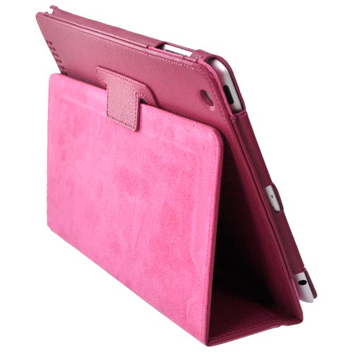 Premium Apple iPad 2/ New iPad Leather Stand Case w/ Magnetic Closure - Magenta