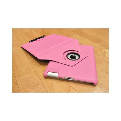 Premium Apple iPad (2nd & 3rd Gen.) Leather Case Stand w/ Rotatable Shield - Pink
