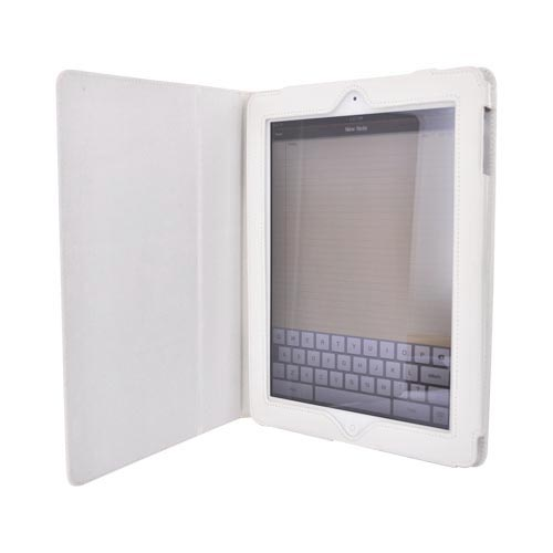 Premium Apple iPad 2/ New iPad Leather Case Stand w/ Magnetic Closure - White