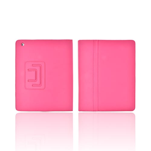 Premium Rose Pink Apple iPad 2/3/4 Faux Leather Stand Case w/ Magnetic Closure