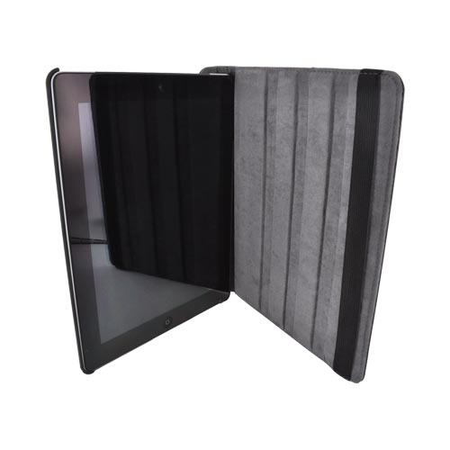 Premium New Apple iPad Leather Case Stand w/ Rotatable Shield - Black