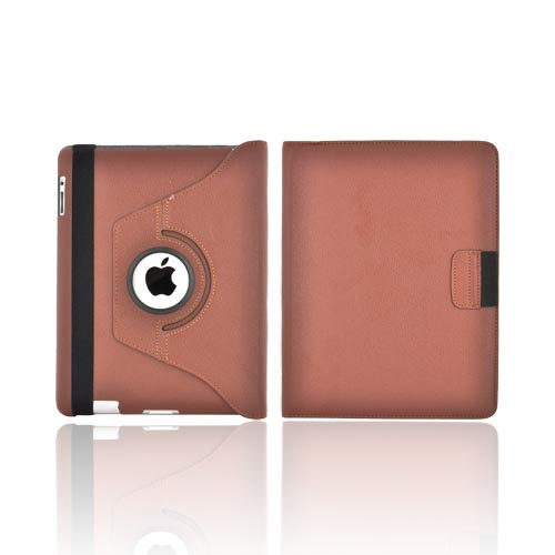 Premium New Apple iPad Leather Case Stand w/ Rotatable Shield - Brown