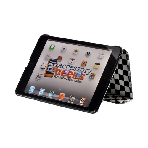 Black/ White Checker Leather Case Stand w/ Hard Back for Apple iPad Mini
