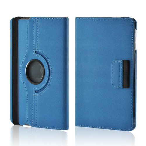 Blue/ Gray Hard Case w/ Flip Cover, Rotatable Shield Stand, & Card Slots for Apple iPad Mini