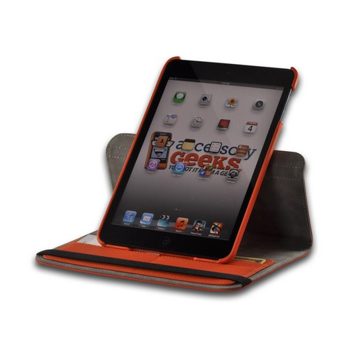Orange/ Gray Hard Case w/ Flip Cover, Rotatable Shield Stand, & Card Slots for Apple iPad Mini