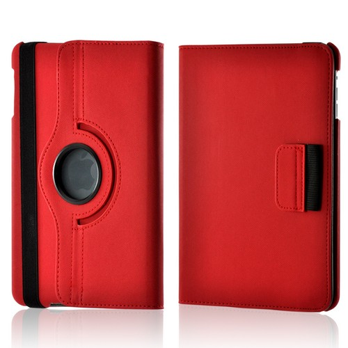 Red/ Gray Hard Case w/ Flip Cover, Rotatable Shield Stand, & Card Slots for Apple iPad Mini
