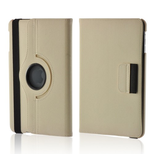 White/ Gray Hard Case w/ Flip Cover, Rotatable Shield Stand, & Card Slots for Apple iPad Mini