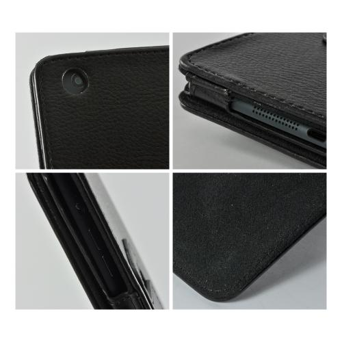 Black Leather Stand Case w/ Magnetic Closure for Apple iPad Mini