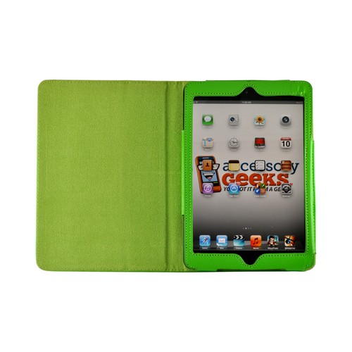 Lime Green Leather Stand Case w/ Magnetic Closure for Apple iPad Mini