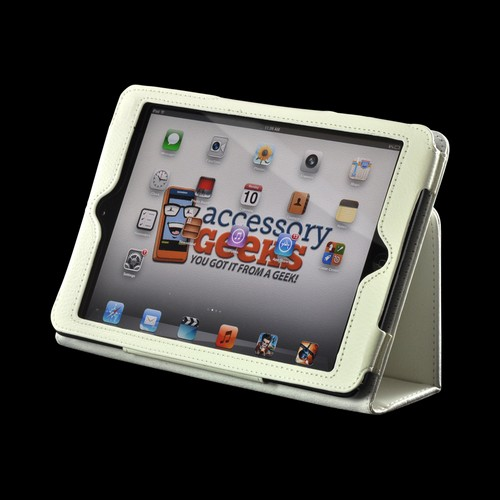 White Leather Stand Case w/ Magnetic Closure for Apple iPad Mini