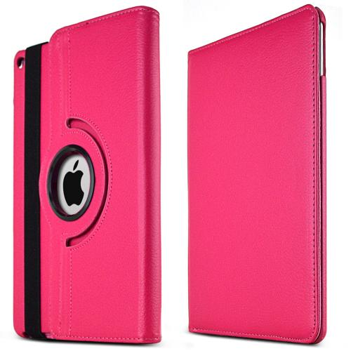 iPad Air 2 Case [Hot Pink] Slim Protective PU Leather Tablet Case w/ Stand and Rotatable Shield [Perfect Fitting Apple iPad Air 2 Case]
