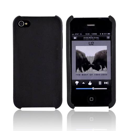 Original Cellet AT&T Apple iPhone 4 Genuine Cow Hide Leather Case - Black