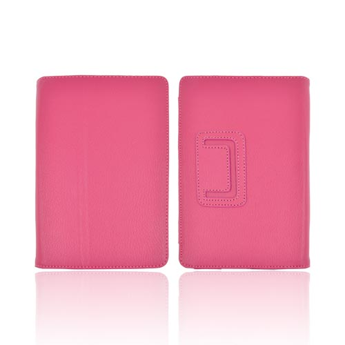Premium Amazon Kindle Fire Leather Stand Case w/ Magnetic Closure - Fuchsia Rose