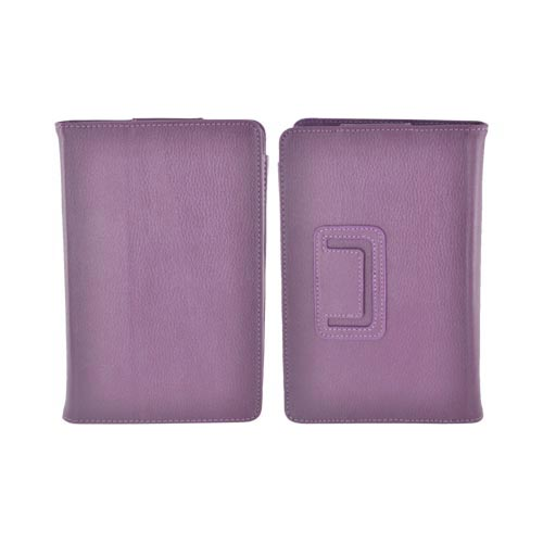 Premium Amazon Kindle Fire Leather Stand Case w/ Magnetic Closure - Plum Purple