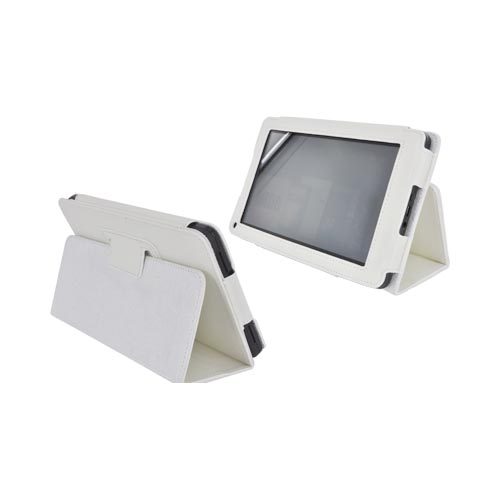 Premium Amazon Kindle Fire Leather Stand Case w/ Magnetic Closure - White