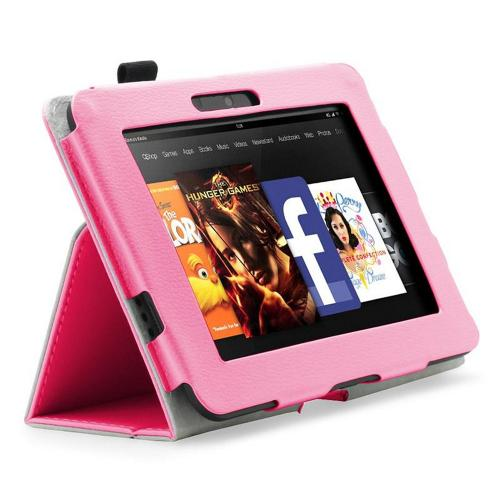 Pink Faux Leather Case Stand w/ Magnetic Closure for Amazon Kindle Fire HD 2012
