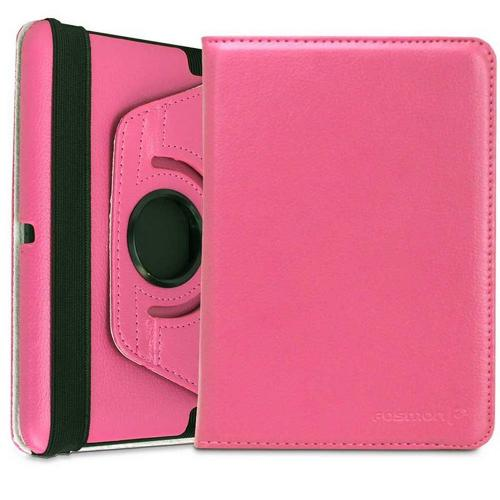 Pink Faux Leather Case Stand w/ Rotatable Shield for Amazon Kindle Fire HD