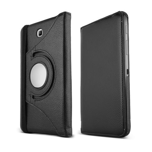 Black Samsung Galaxy Tab 4 7.0 Faux Leather Hard Case Stand w/ Rotatable Shield - Perfect Protection and Functionality!