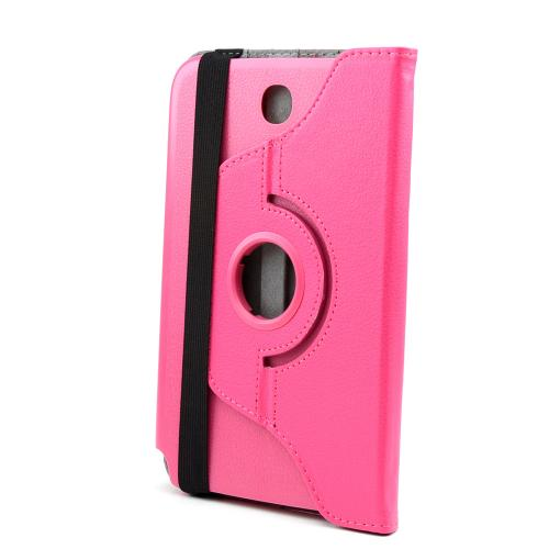 Rose Pink Faux Leather Case Stand w/ Rotatable Shield for Samsung Galaxy Note 8.0