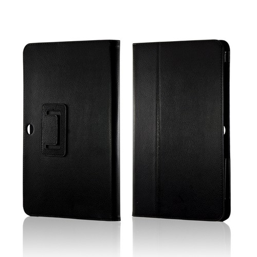 Black Leather Case Stand w/ Magnetic Closure for Samsung Galaxy Tab 2 10.1
