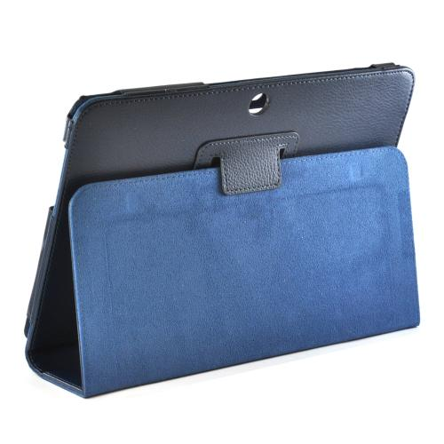 Dark Blue Faux Leather Case Stand w/ Magnetic Closure for Samsung Galaxy Tab 2 10.1