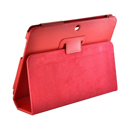 Red Faux Leather Case Stand w/ Magnetic Closure for Samsung Galaxy Tab 2 10.1